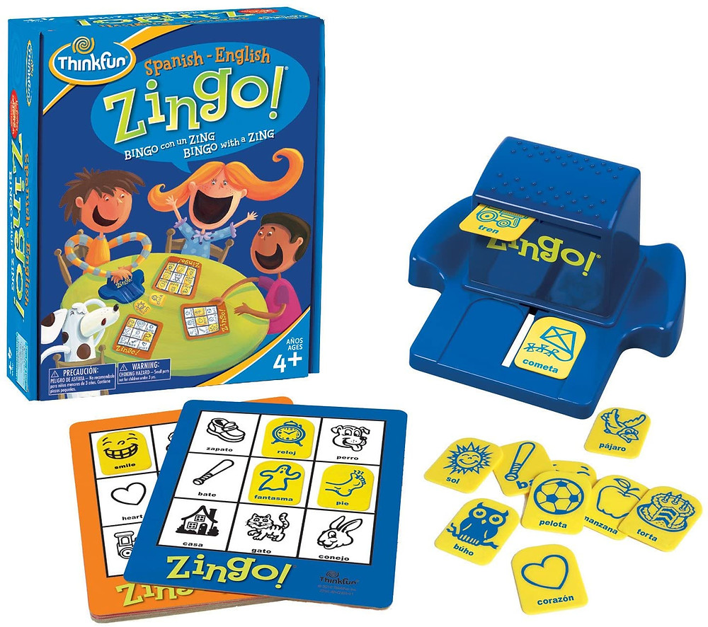 product photo of Zingo game shows contents of game