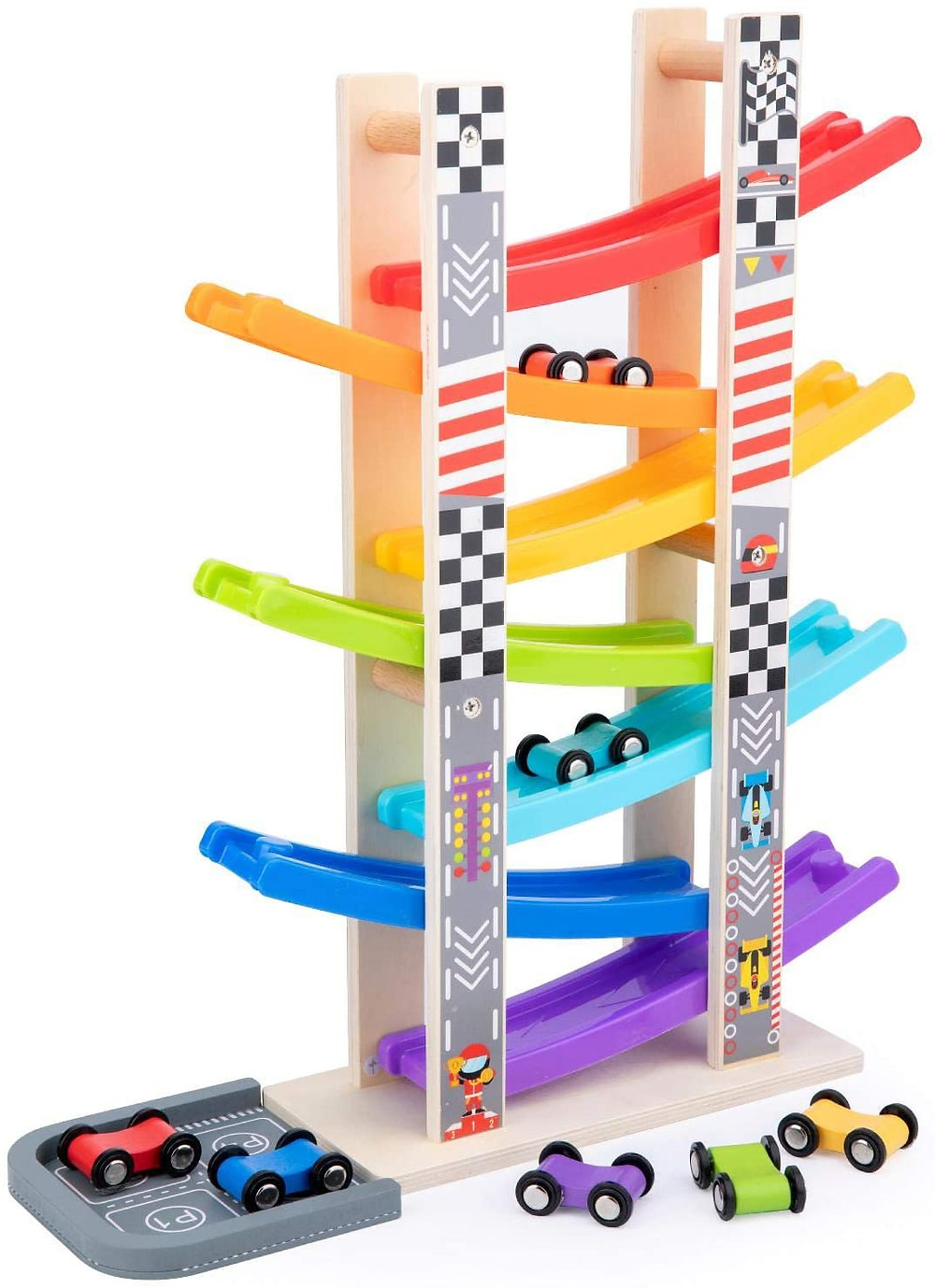 product photo of zig zag wooden city ramp racer with red and blue cars sliding down