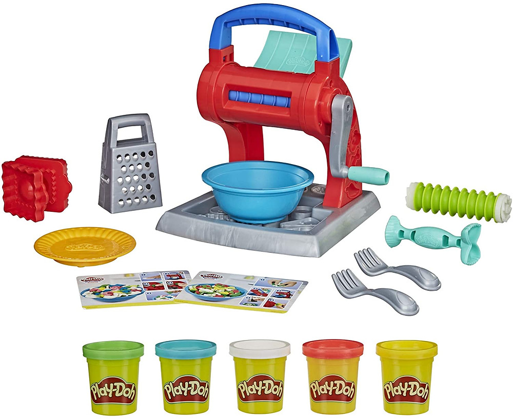 product photo showing all the parts of play-doh kitchen creations set