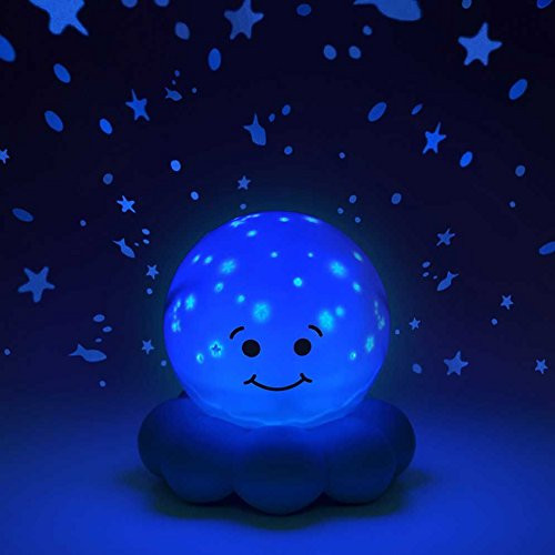 Glowing nightlight globe with smiley face with stars projecting on wall and ceiling