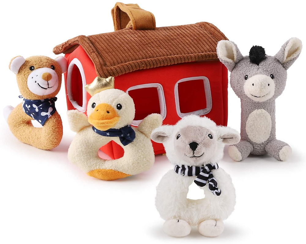 product photo of soft ring rattle set with barn and farm animals