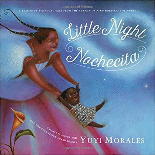 Nochecita bilingual book for baby book cover with a mother playing with her baby in the sky. The mother and her baby are brown and black