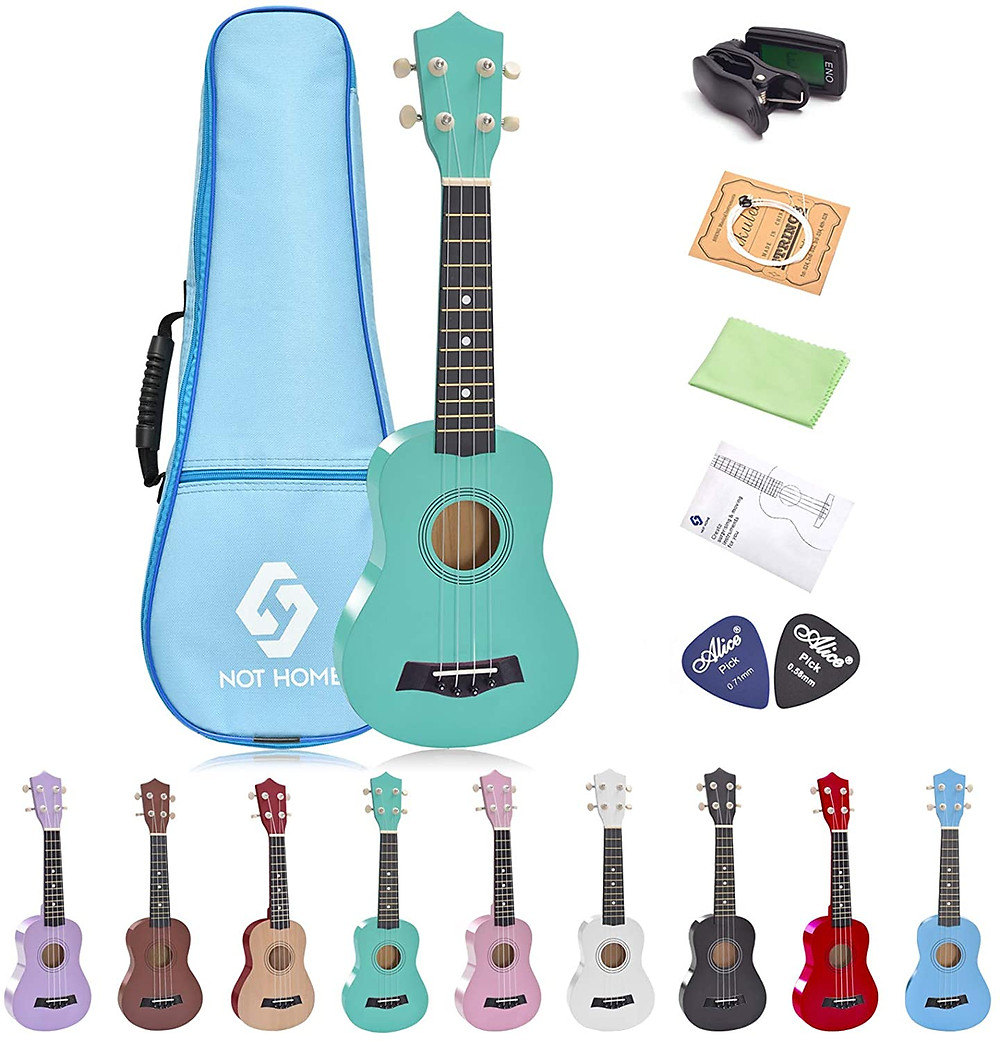 Ukuleles for kids with a travel case and color options