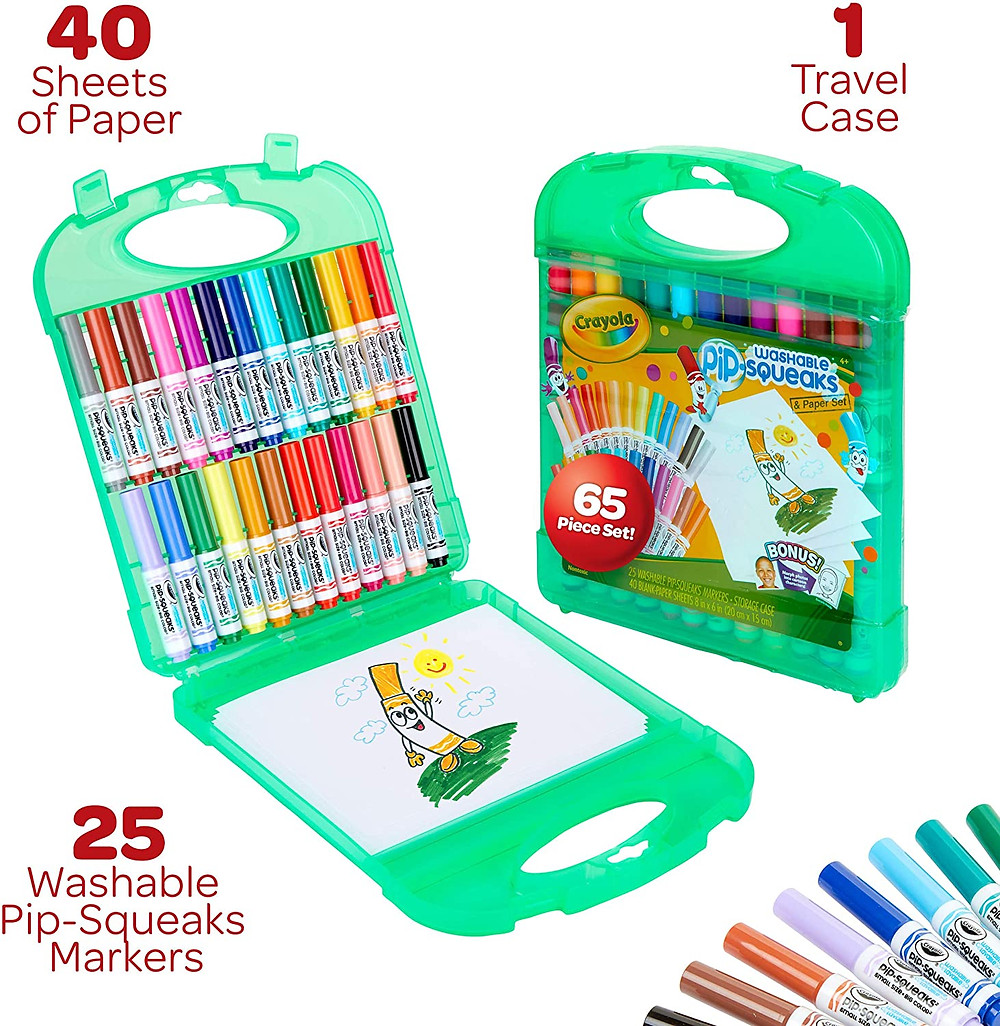 Green travel case with complete marker set for kids. Case opened and case closed.
