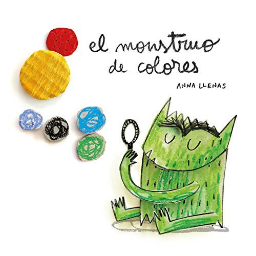 El monstruo de colores bilingual book for baby green monster looking at himself in the mirror