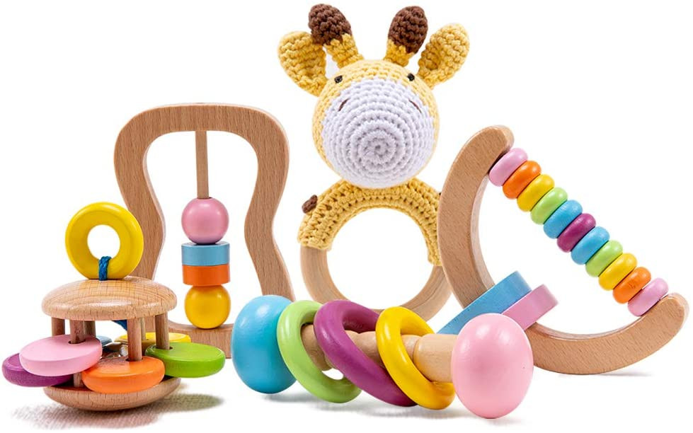 montessori toy set for babies with shakers and reindeer toy