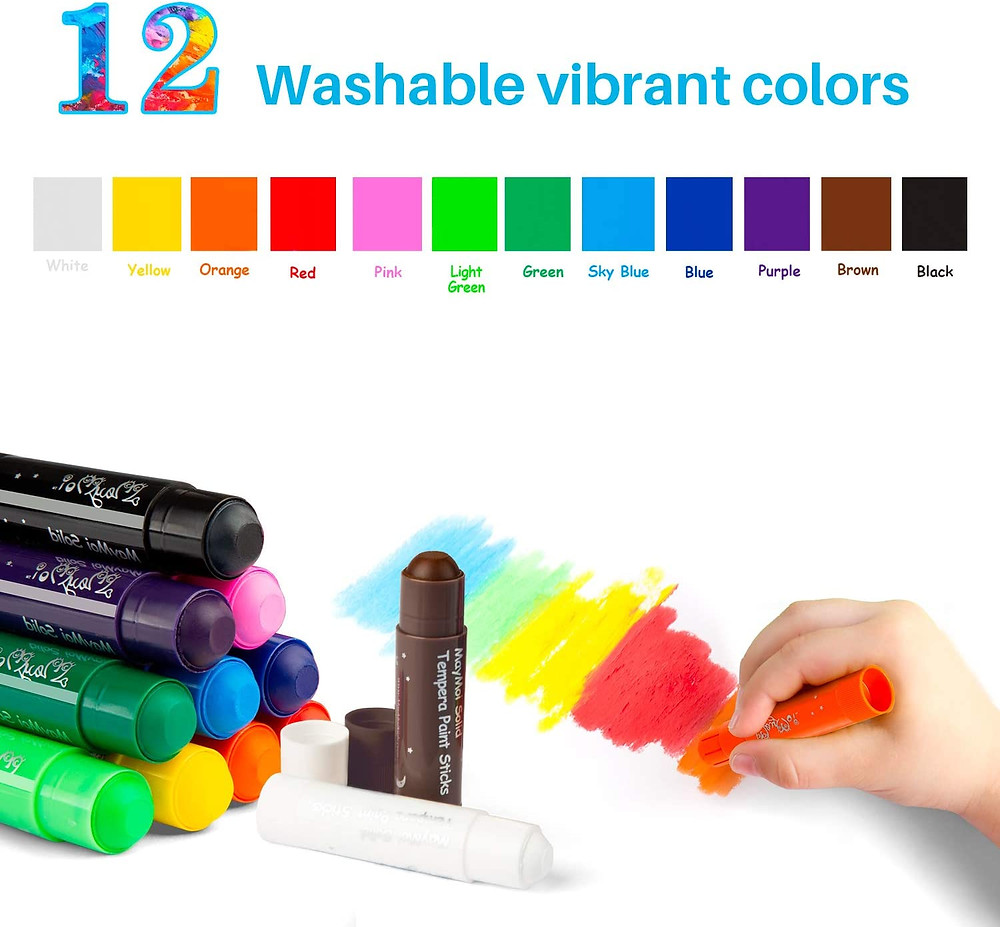 Product photo with hand of child using paint stick shows the different colors that come with the set
