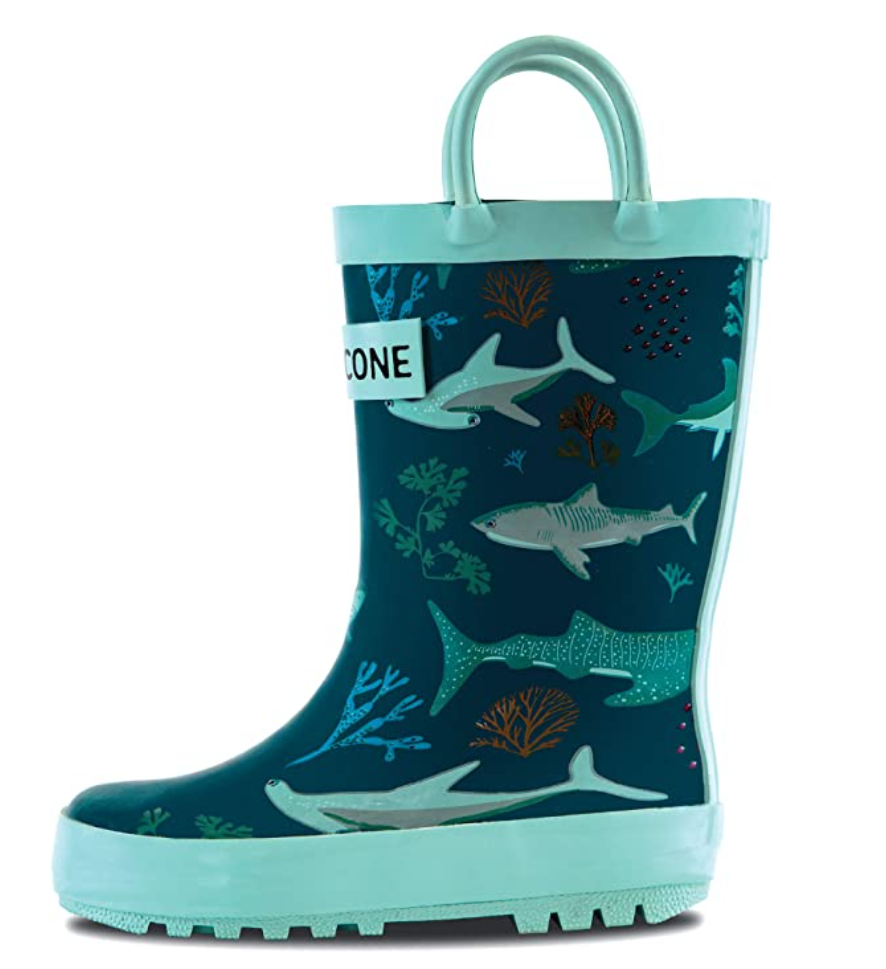 Green Lonecone rainboots with shark pattern
