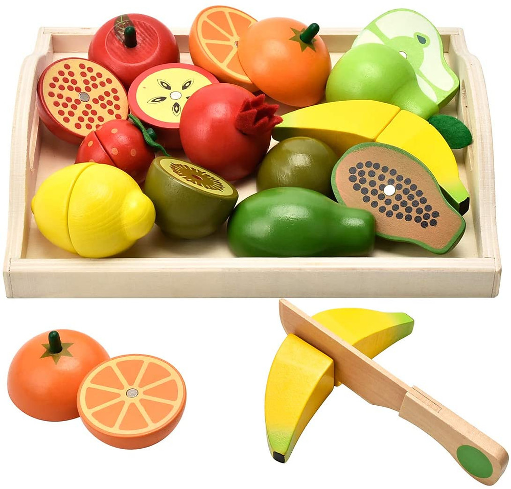 product photo of wooden fruit and veggie toy set with wooden knife cutting banana