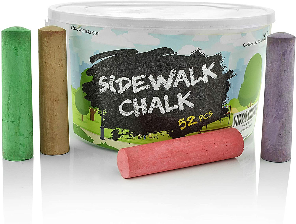 Product photo of sidewalk chalk showing bucket and chalk