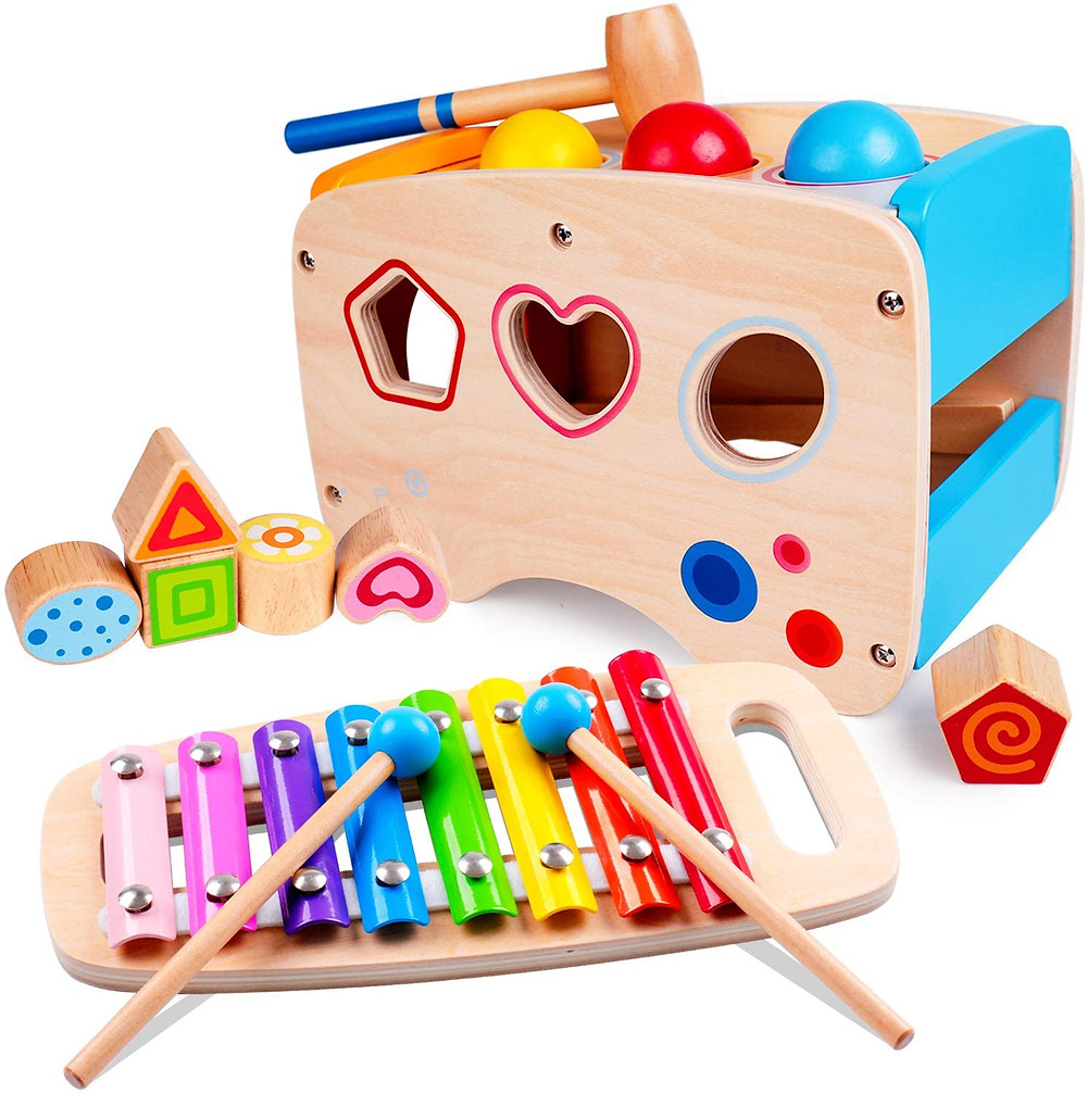 pound and tap bench for toddlers with slide out xylophone and shape toy
