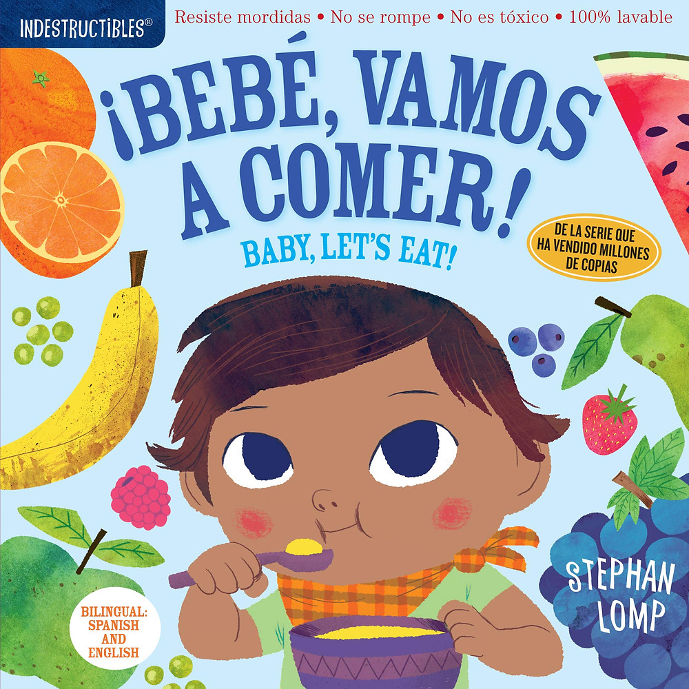 bebe vamos a comer bilingual baby book cover of little brown girl eating veggies and fruit