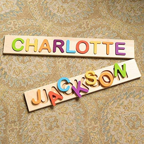 Names charlotte and jackson in wooden name puzzle