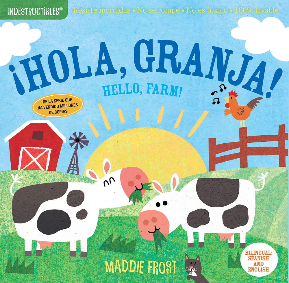 Hola, Granja bilingual book cover for babies farm animals eating grass