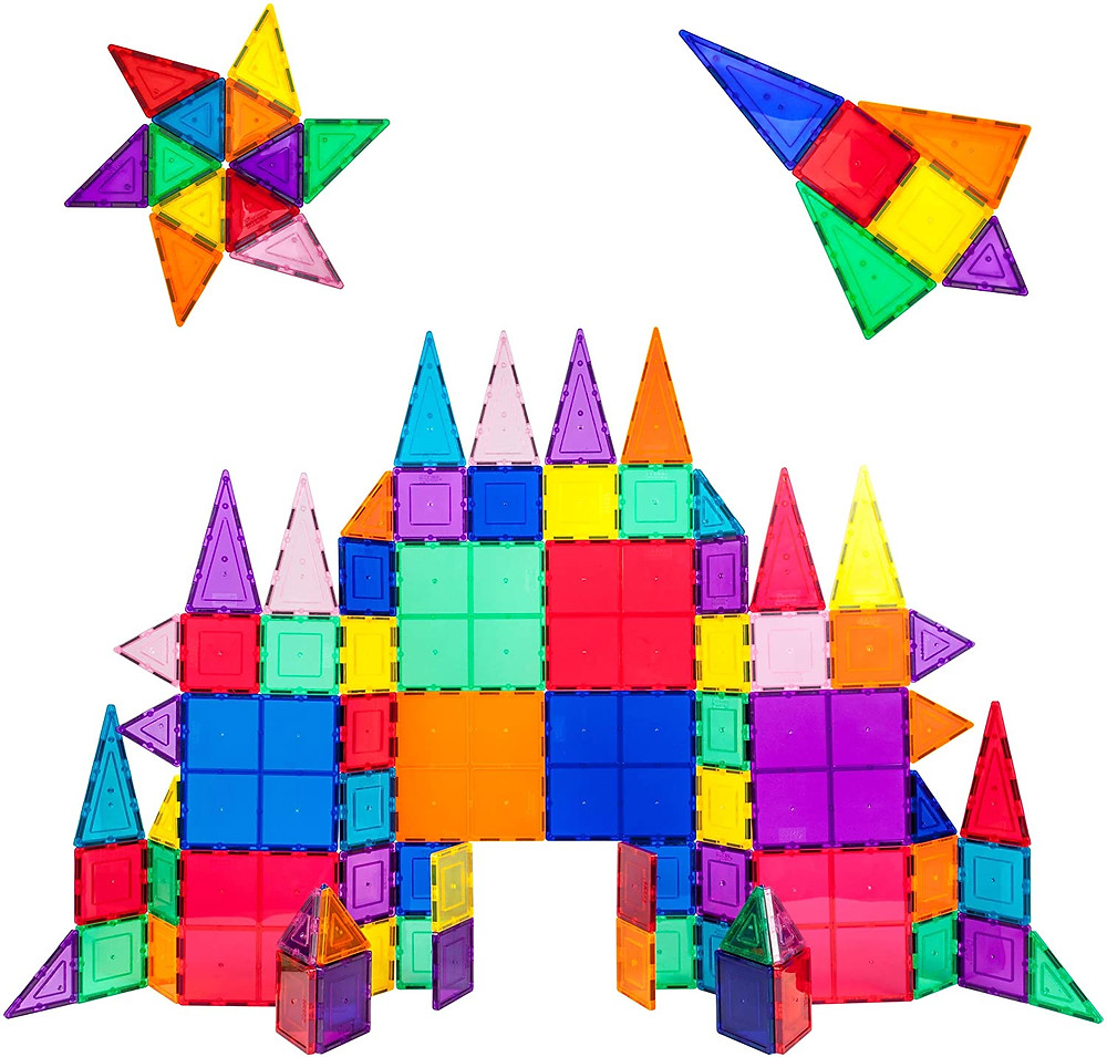 castle, star and rocket made of colorful magnetic building tiles