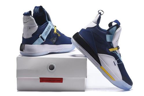 5b0ebc617c8 Air Jordan 33 XXXIII Future of Flight White Navy Blue Sneakers