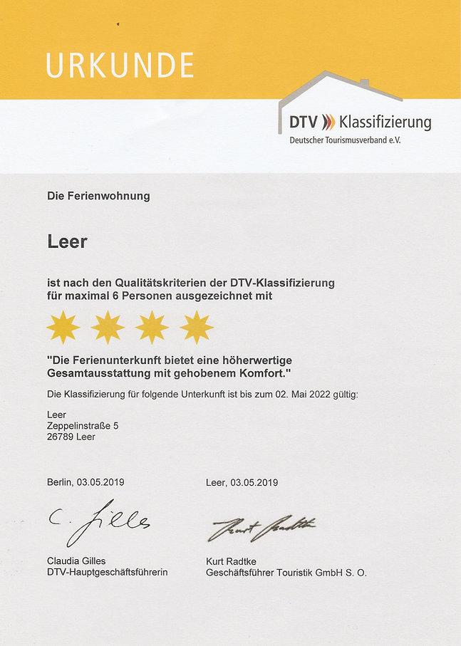 4 Sterne Urkunde Komfort Ferienwohnung LEER , 26789 Leer in Ostfriesland