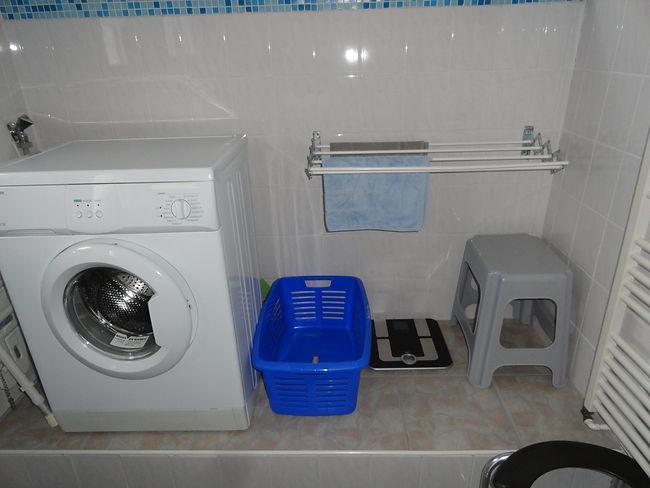 Waschmaschine, Korb, Hocker, Ferienhaus,