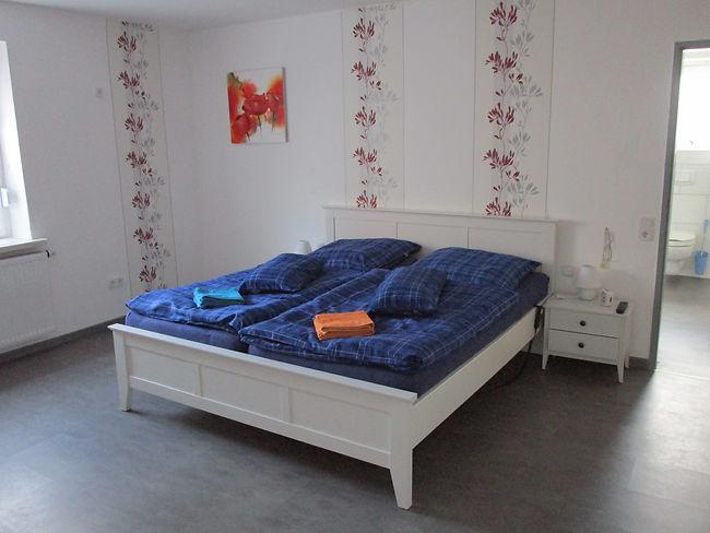 Schlafzimmer, Doppelbett, Ferienhaus, Am