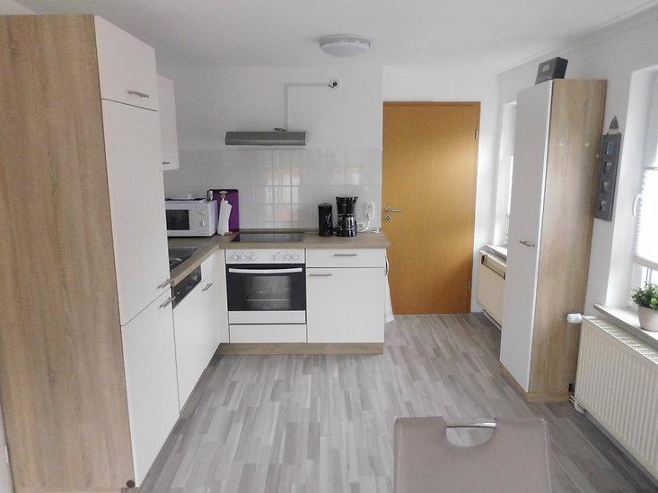Küche der Ferienwohnung Leer in Ostfriesland , ausgestattet mit allem was benötigt wird