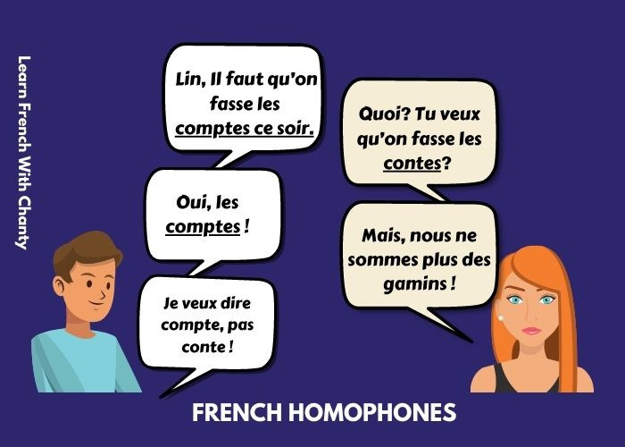 French homophones Conte and compte