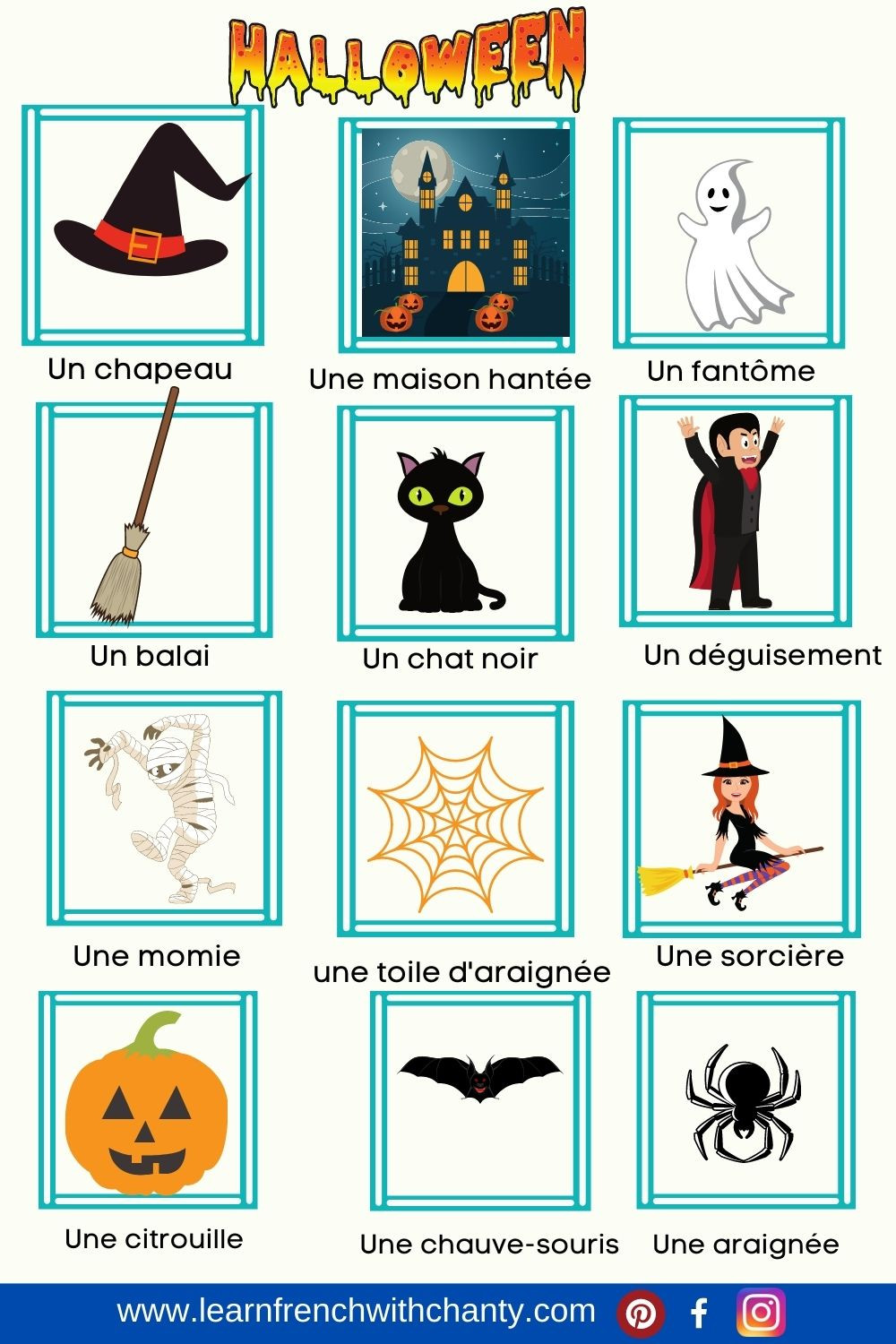 Halloween Vocabulary list in French