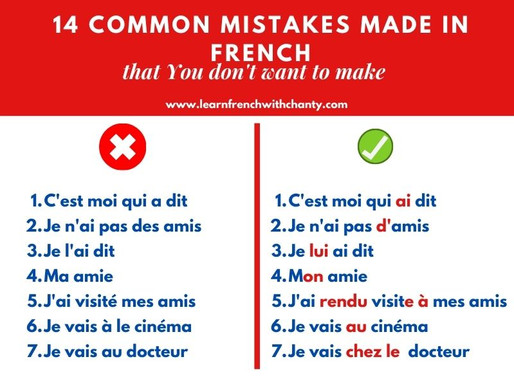 14  common mistakes made by French learners that you certainly want to avoid