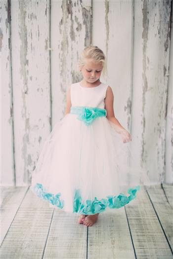 Girls Flower Petal with Sash Dress-More Colors Available