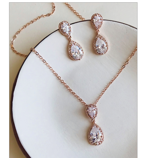 Drop Necklace Set-Rose Gold