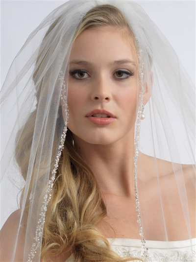 1 Layer, Delicate Crystal Beaded Veil
