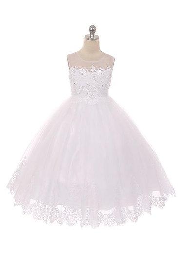 Lace Bateau Dress-White or Ivory