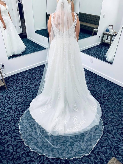 Cathedral Length Solid Beaded Veil