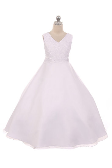Lace Applique Dress-White or Ivory