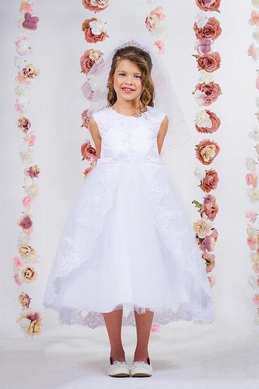 Lace Applique Swoop Train Dress