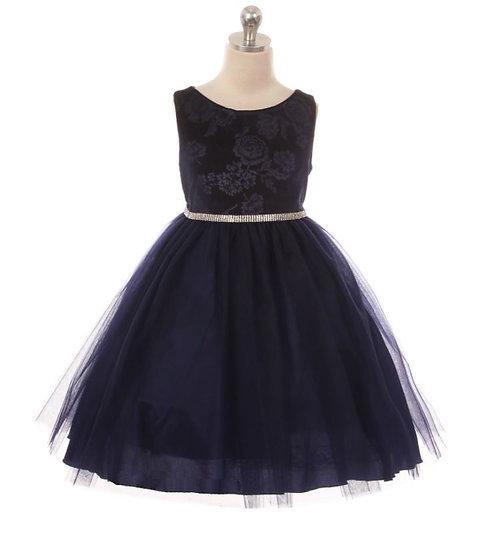 Velvet/Tulle Flower Girl Gown-KD454