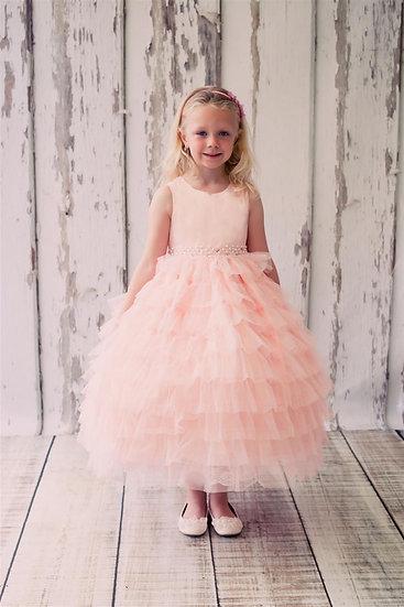 Layered Mesh Dress-Peach, Ivory, or White