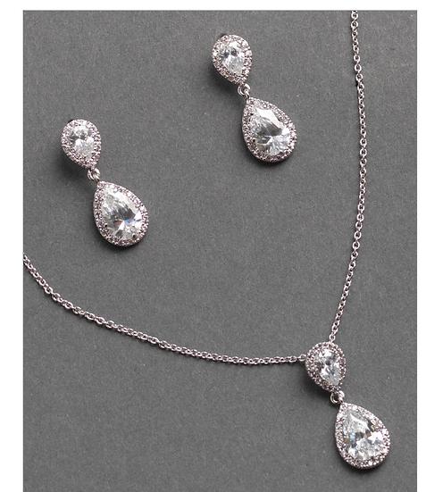 Drop Necklace Set-Silver