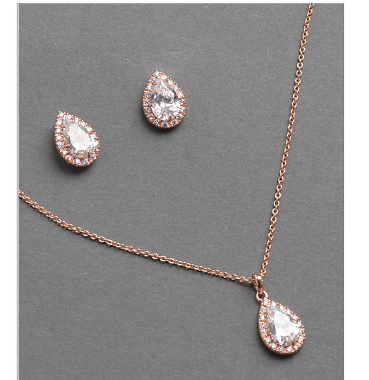 Tear Drop Rose Gold Jewelry Set