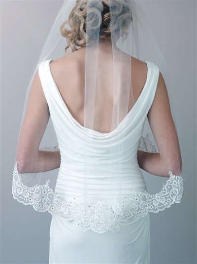 Claudia & Lace beaded veil