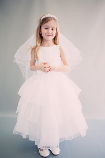 3-Tier Organza Dress-White or Ivory