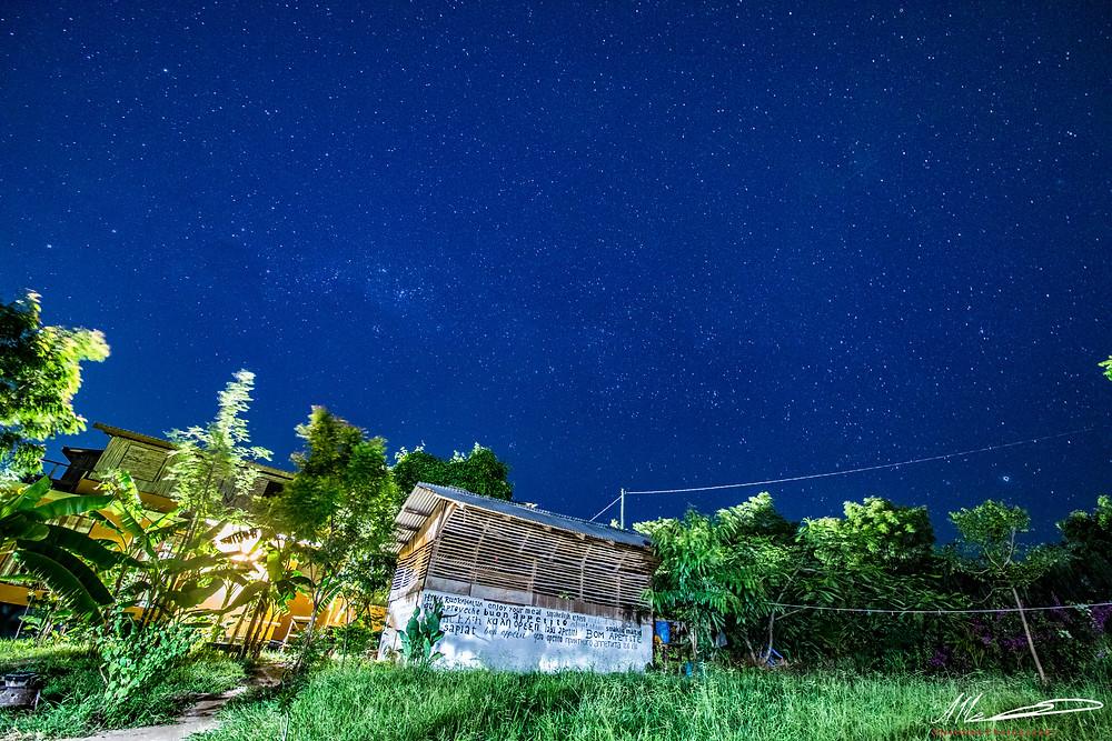 kitchen under starry sky