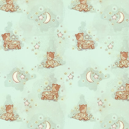 Bambini Fabrics Newborn Bear with Sleeping Baby, Moon & Stars 6073-107