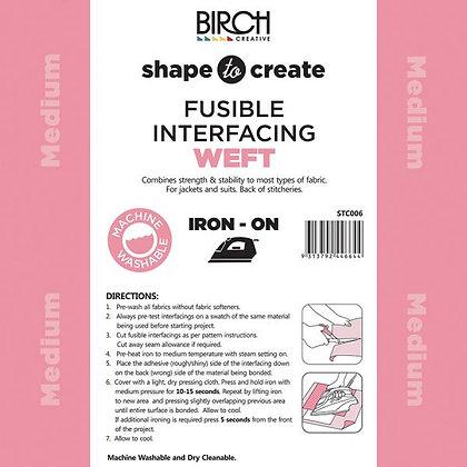 Birch Shape to Create Fusible Weft Medium Interfacing White