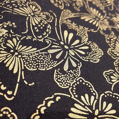 Japanese Butterflies Gold on Black - Wide Back