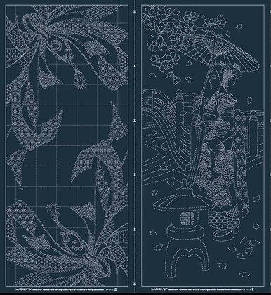 Sashiko Pre-printed Wagara Panel Maiko and Noshi