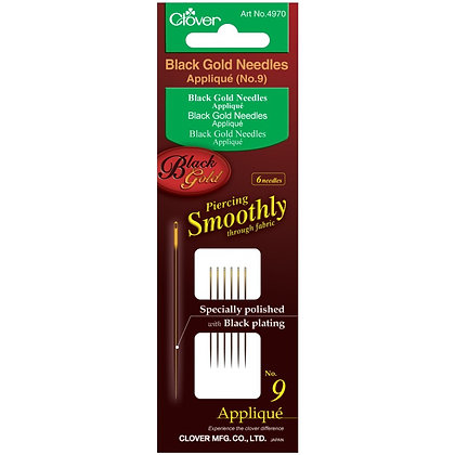 Clover Black Gold Needles Applique/Sharps size 9