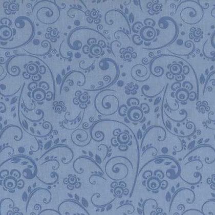 Blue Floral Swirls Wide Back