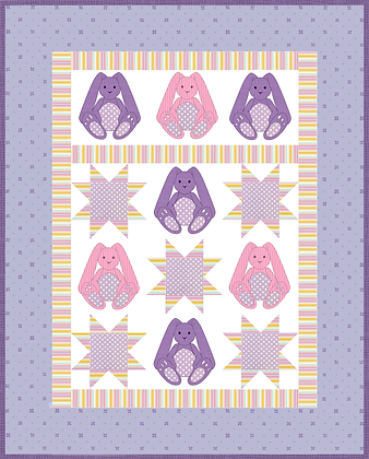 Bunny applique quilt for babies pattern