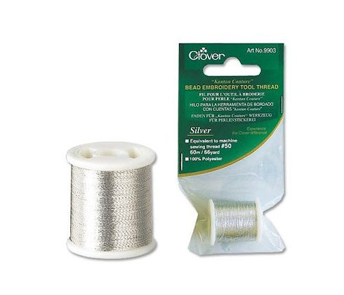 Clover Bead Embroidery Tool Thread Silver