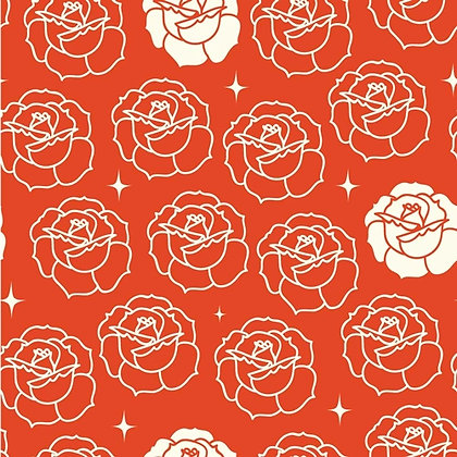 birch fabrics Arleen Hillyer stamped rose tomato